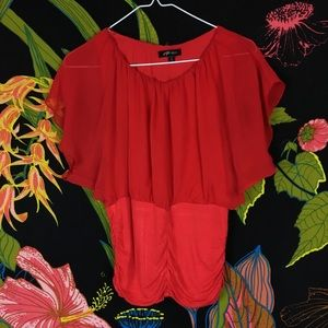 NASTY GAL / Red Chiffon Blouse